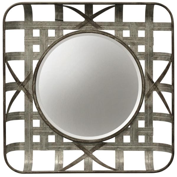 Silver Metal Grid Wall Mirror