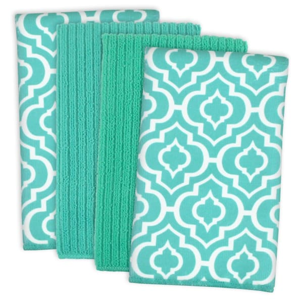 Lattice Teal Dish Towel Set of 4