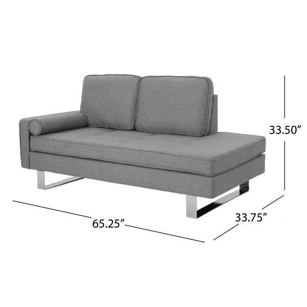 Modern Gray Fabric Chaise Loveseat