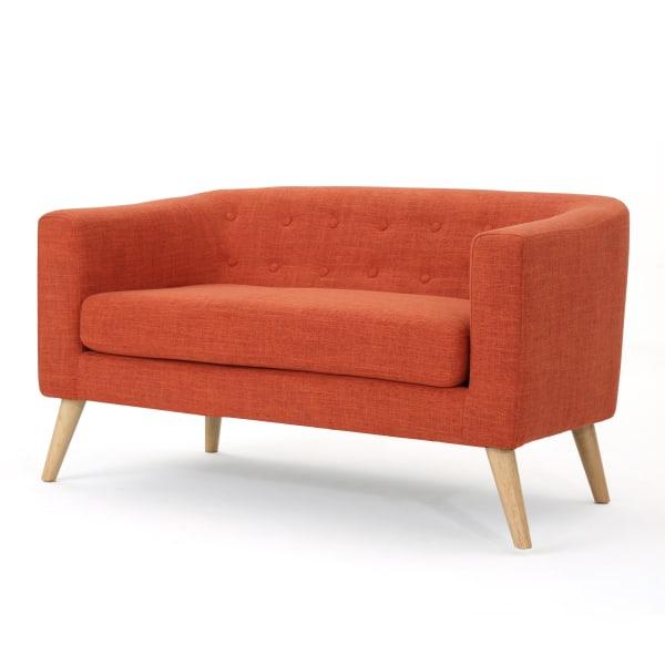 Muted Orange Fabric Mid Century Modern Loveseat