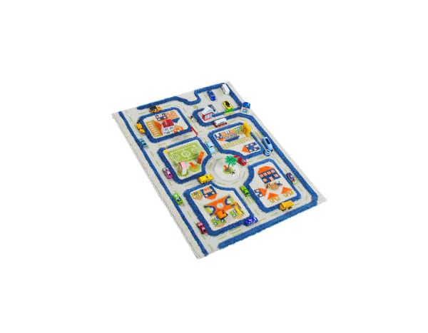 Traffic Blue 3D Kids Play Rug 2' x 3'