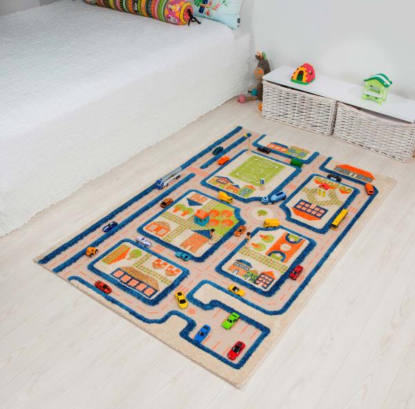 Traffic Blue 3D Kids Play Rug 3' x 5'