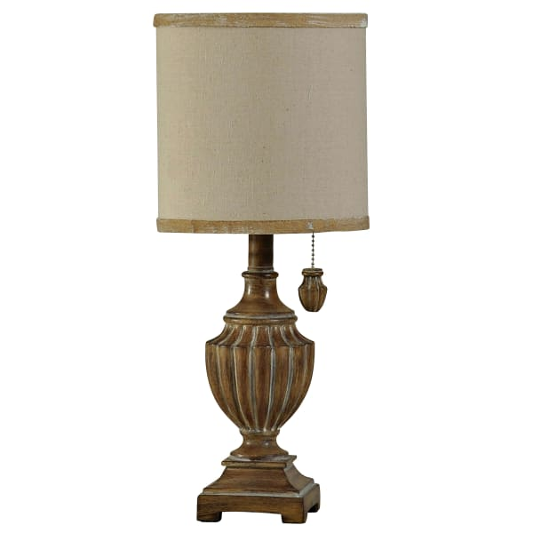 Brown Table Lamp with White Hardback Fabric Shade