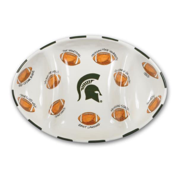 Michigan State Ceramic Football Tailgating Platter
