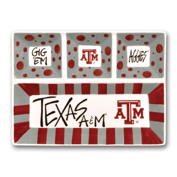 Texas A&M Ceramic 4 Section Tailgating Serving Platter