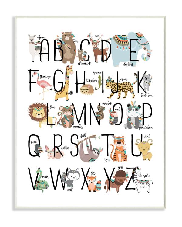 Animal Alphabet Wood Plaque Wall Art