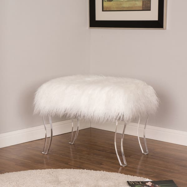 White Faux Fur Bench With Acrylic Legs