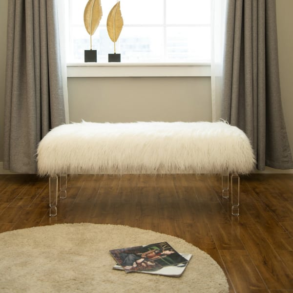 White Faux Fur Long Bench with Acrylic Legs