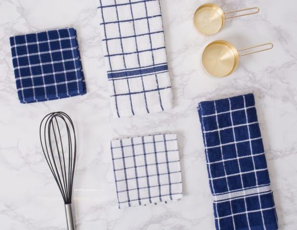 Blue Tiled Dish Towel Set of 4