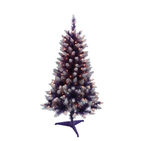 4 ft. Pre-Lit Purple Pine Artificial Christmas Tree 150 Clear Lights