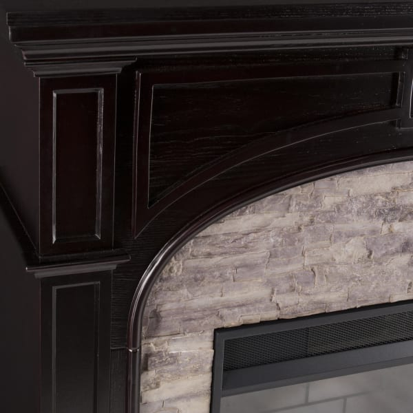 Boccea Alexa Smart Fireplace with Faux Stone
