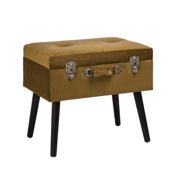 Gold Velvet Upholstered Storage Stool