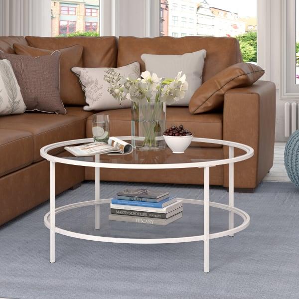 Sivil White Coffee Table with Glass Shelf