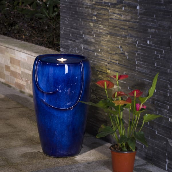 Zen Cobalt Ceramic Outdoor Fountain with Pump and LED Light 20.5