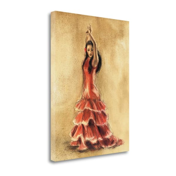 Fine Art Giclee Print on Gallery Wrap Canvas 18 In. x 24 In. Flamenco Dancer I By Caroline Gold Multi Color