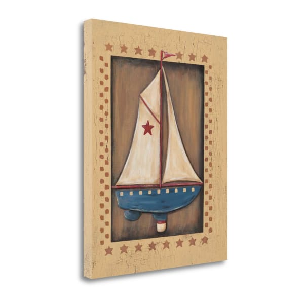 Fine Art Giclee Print on Gallery Wrap Canvas 16 In. x 20 In. Sailboat By Jo Moulton Multi Color