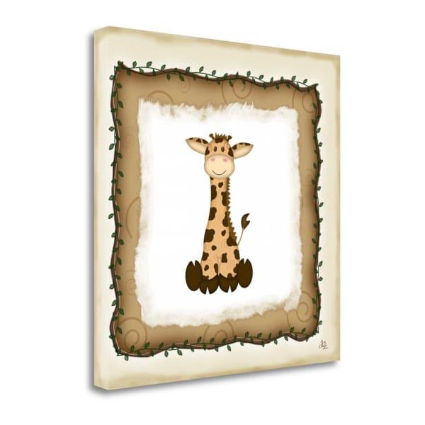 Fine Art Giclee Print on Gallery Wrap Canvas 20 In. x 20 In. Safari Giraffe By Jennifer Pugh Multi Color