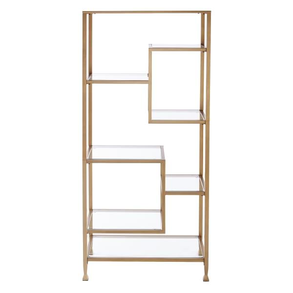 Kathryn Metal/Glass Asymmetrical Étagère/Bookcase - Gold