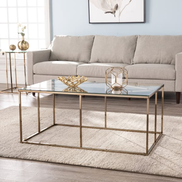 Gaston Contemporary Glass-Top Cocktail Table