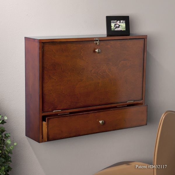 Brown Mahogany Atwood Wall Mount Laptop Desk