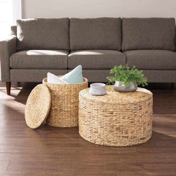 Ailey Round Water Hyacinth Set of 2 Storage Tables