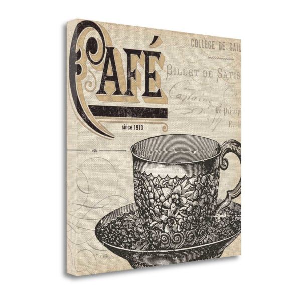 Giclee Print on Gallery Wrap Canvas 20 In. x 20 In. Antique Cafe No Border II By Pela Studio Multi Color