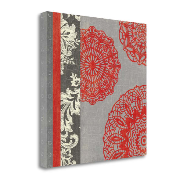Fine Art Giclee Print on Gallery Wrap Canvas 20 In. x 20 In. Contemporary Lace I By Moira Hershey Multi Color