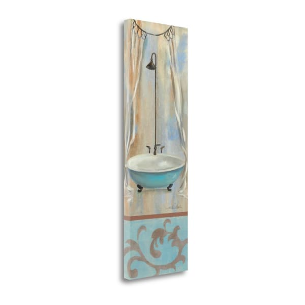 Giclee on Gallery Wrap Canvas 12 In. x 36 In. French Bathroom In Blue I By Silvia Vassileva Multi Color