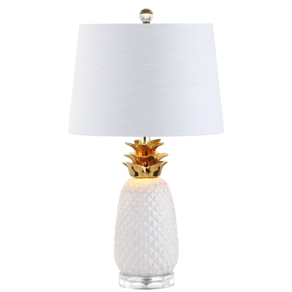 White & Gold Pineapple Table Lamp