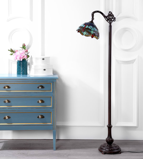 Dragonfly Tiffany-Style Arched Floor Lamp, Bronze