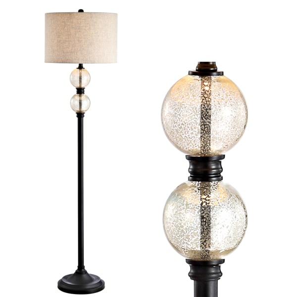 Glass/Metal Floor Lamp, Mercury Glass/Oil Rubbed Bronze
