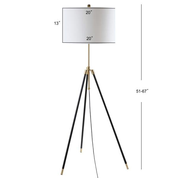 Adjustable Metal Floor Lamp, Black/Brass