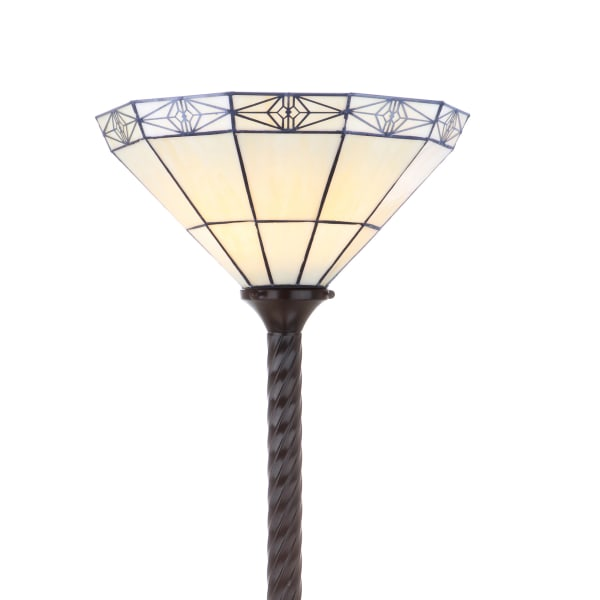 Moore Tiffany-Style Torchiere Floor Lamp, Bronze