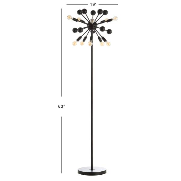 Orbit 10-Light Modern Sputnik Metal Floor Lamp, Black