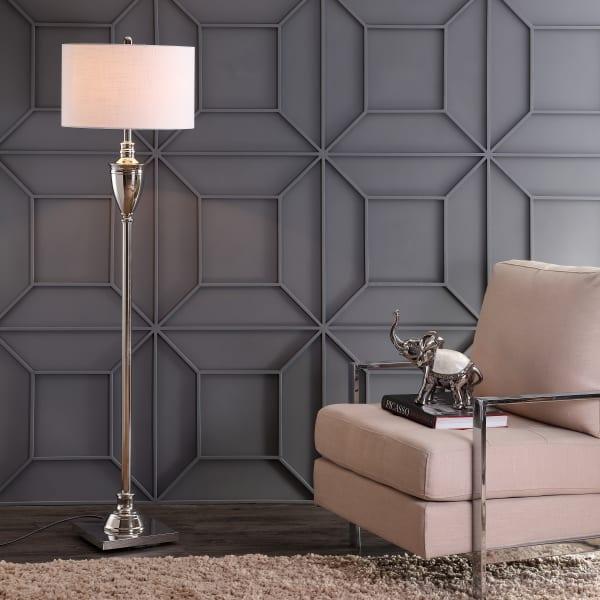 Metal Floor Lamp, Polished Nickel