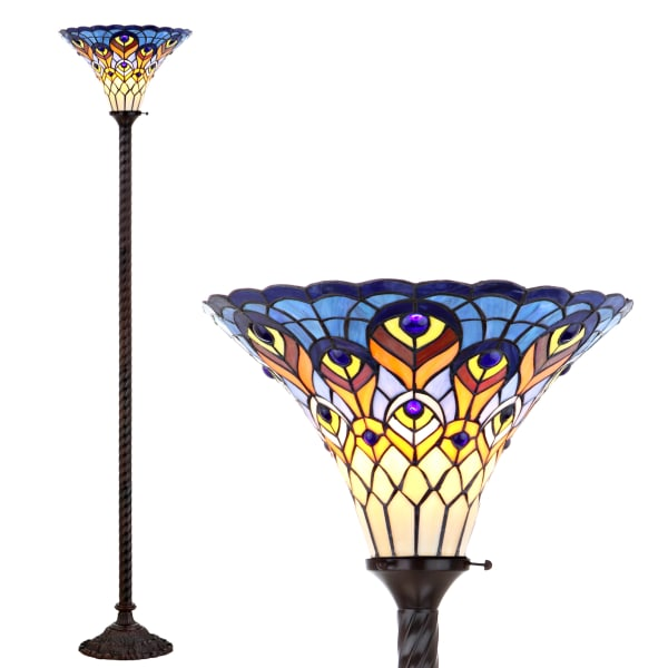 Peacock Tiffany-Style Torchiere Floor Lamp, Bronze