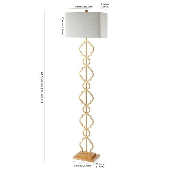Iron Ogee Trellis Modern Floor Lamp, Gold