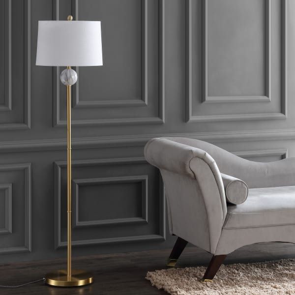 Modern Metal/Resin Floor Lamp, Brass Gold/White