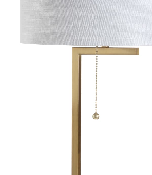 Metal/Marble Table Lamp, Brass Gold/White