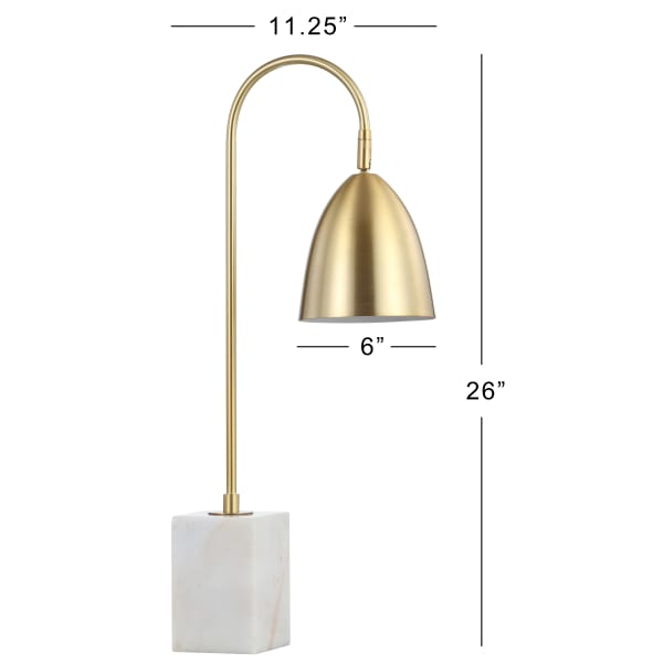 Gold Arched Metal with Marble Base Table Lamp, Brass Gold/White
