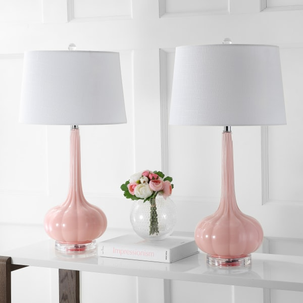 Glass Teardrop Table Lamp, Pink (Set of 2)