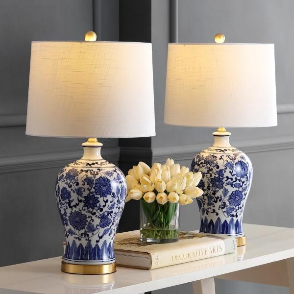 Ceramic/Metal Table Lamp, Blue/White (Set of 2)
