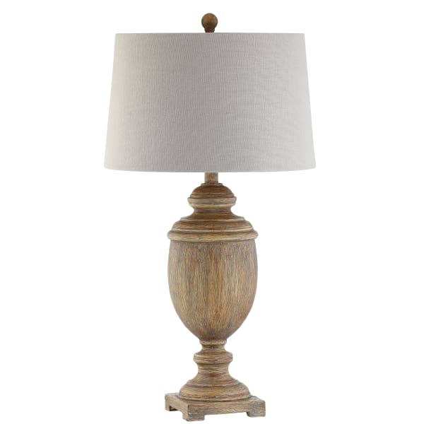 Resin LED Table Lamp, Brown Faux Wood