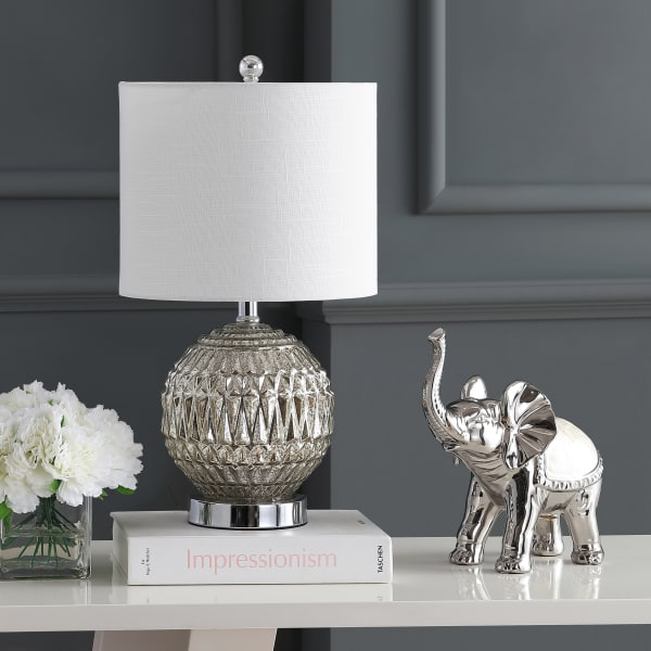 Glass/Metal Table Lamp, Silver/Ivory