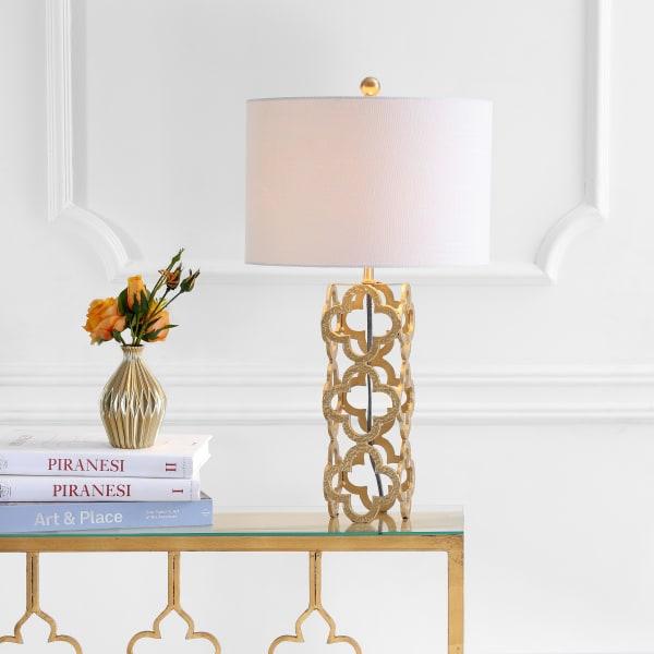 Metal Quatrefoil Table Lamp, Gold