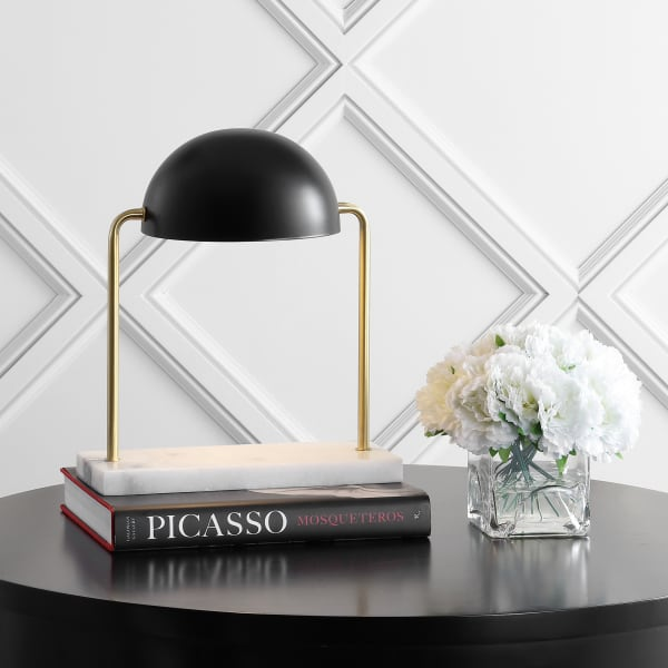 Art Deco Dome Lamp with Marble Base, Brass Gold/Black