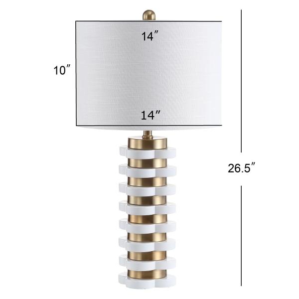 Quatrefoil Striped Resin Table Lamp, Brass