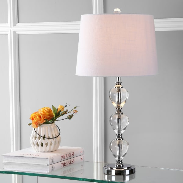 Crystal Table Lamp, Clear/Chrome