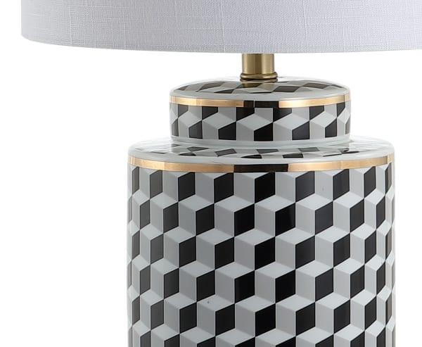 Tumbling Block Ceramic/Metal Table Lamp, Black/White