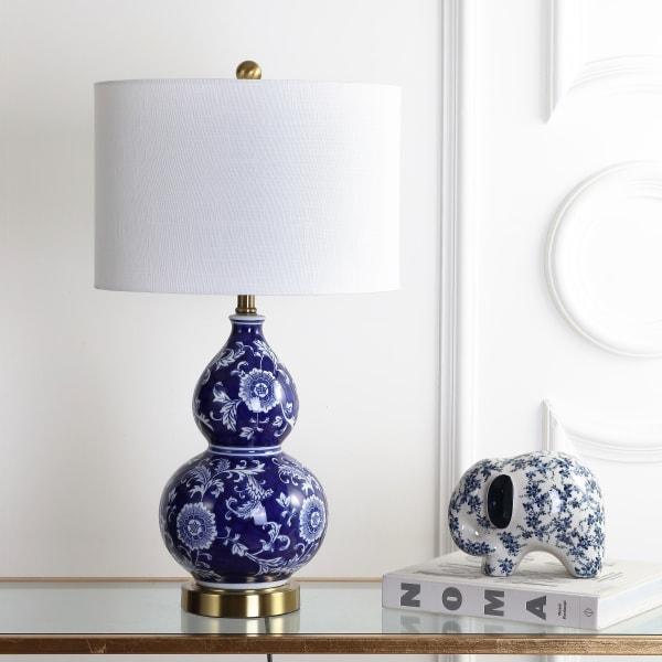 Ceramic Chinoiserie Table Lamp, Blue/White